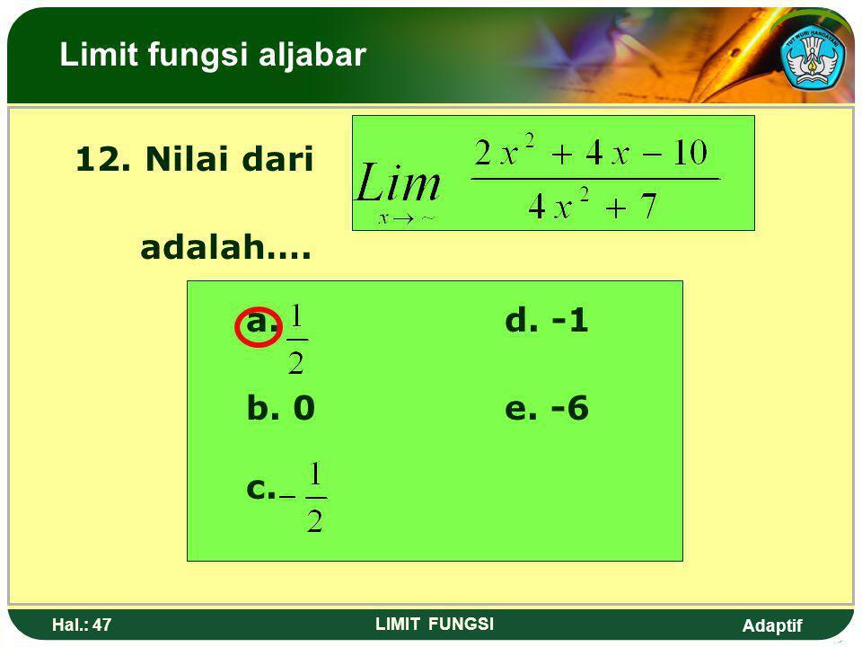 Adaptif Hal.: 46 LIMIT FUNGSI Pembahasan: Pangkat diatas = Pangkat dibawah Maka Limit fungsi aljabar