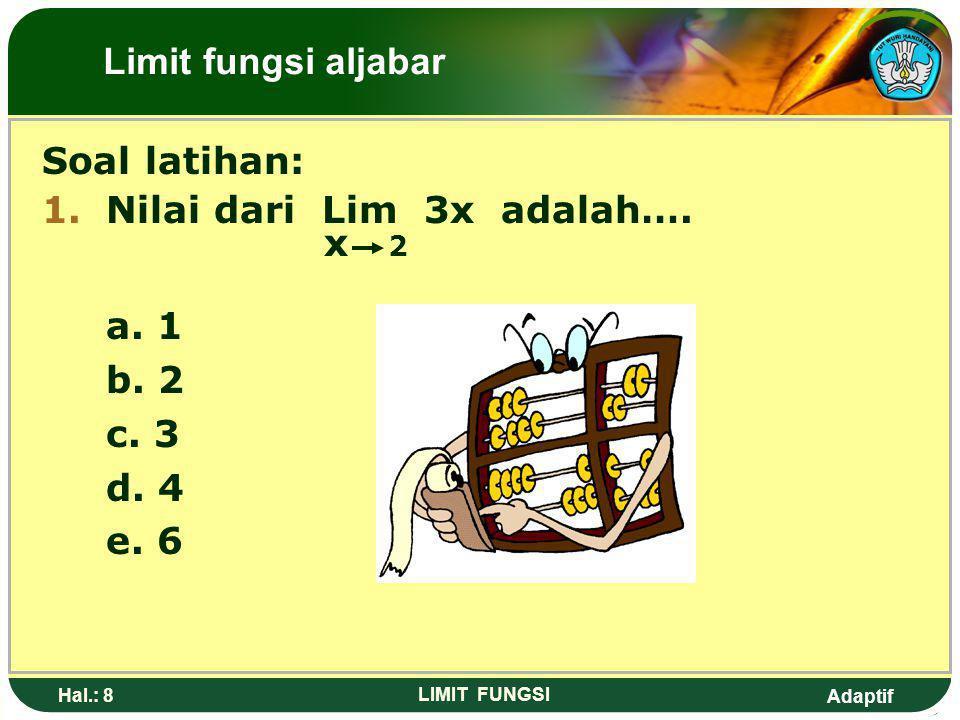 Adaptif Hal.: 7 LIMIT FUNGSI 5. 6. Limit fungsi aljabar