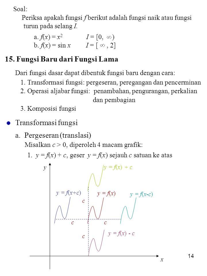 14 Soal: Periksa apakah fungsi f berikut adalah fungsi naik atau fungsi turun pada selang I. a. f(x) = x 2 I = [0, ) b. f(x) = sin x I = [, 2] 15. Fun