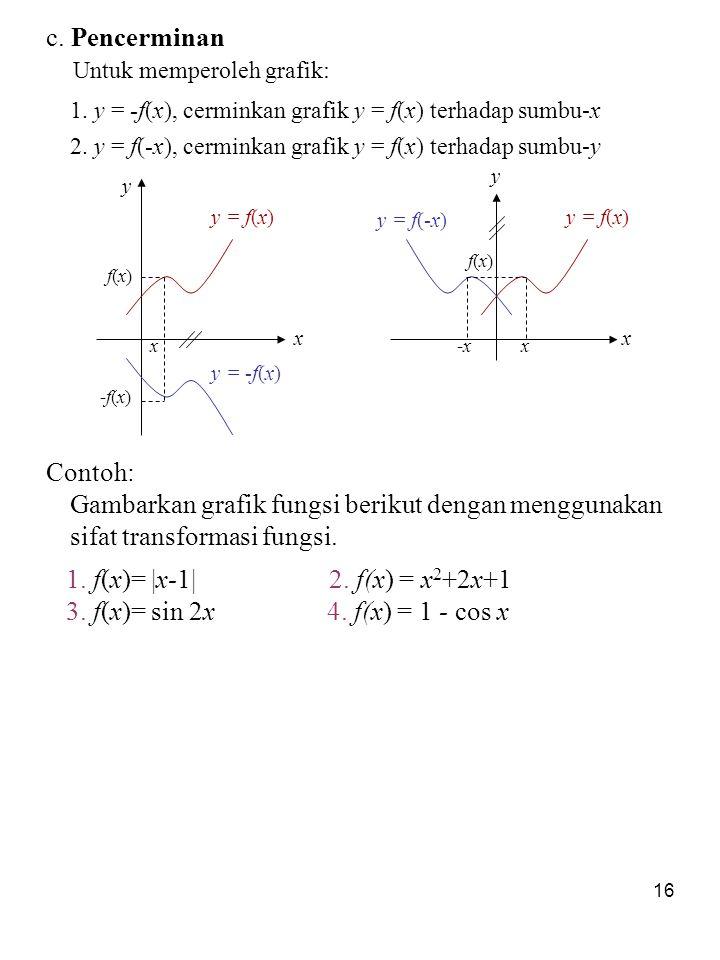 16 c. Pencerminan Untuk memperoleh grafik: 1. y = -f(x), cerminkan grafik y = f(x) terhadap sumbu-x 2. y = f(-x), cerminkan grafik y = f(x) terhadap s