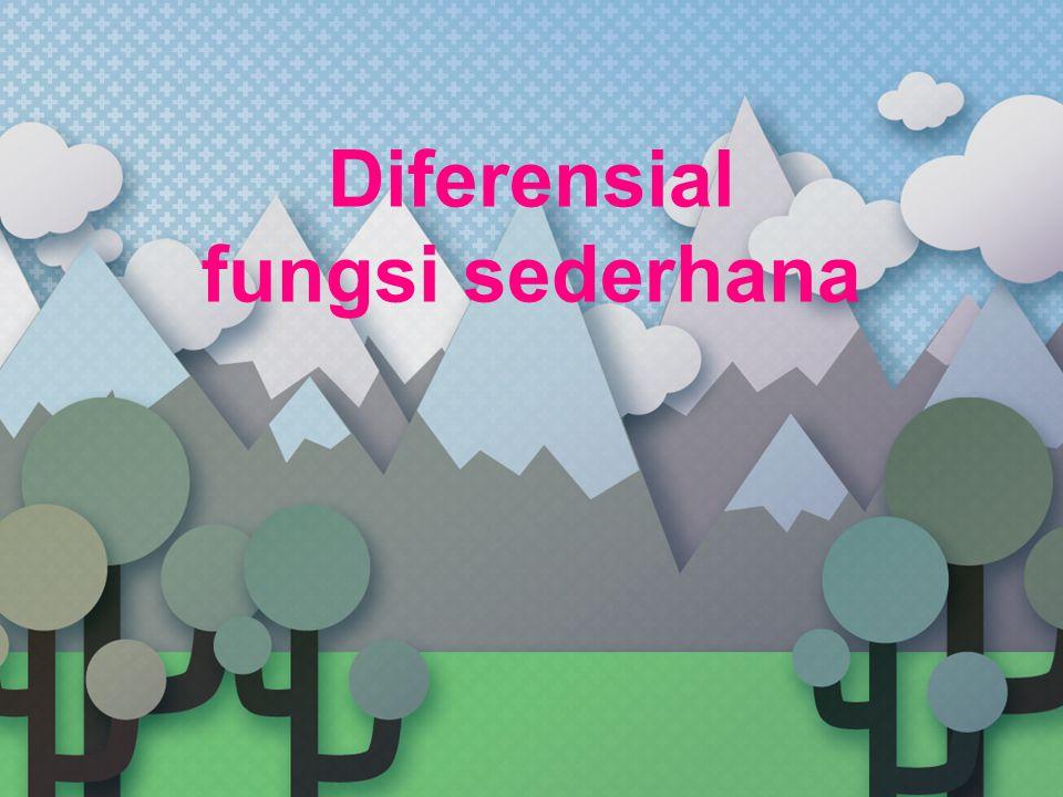 Materi Yang Dipelajari Kuosien Diferensi dan Derivatif Kaidah- Kaidah Diferensiasi Hakikat Derivatif dan Diferensial Derivatif dari Derivatif Hubungan antara Fungsi dan Derivatifnya - Fungsi menaik dan fungsi menurun - Titik ekstrim fungsi parabolik - Titik ekstrim dan titik belok fungsi kubik