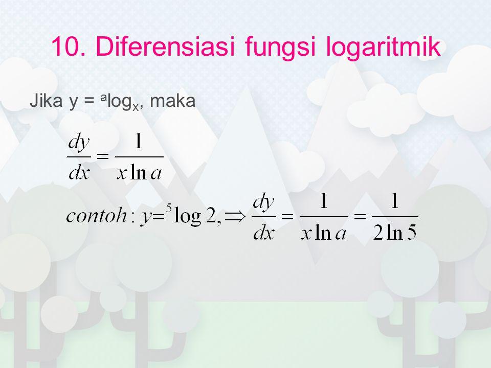 10. Diferensiasi fungsi logaritmik Jika y = a log x, maka