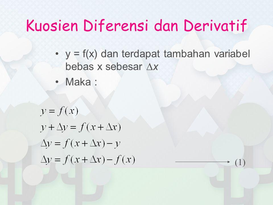 Kuosien Diferensi dan Derivatif y = f(x) dan terdapat tambahan variabel bebas x sebesar ∆x Maka : (1)