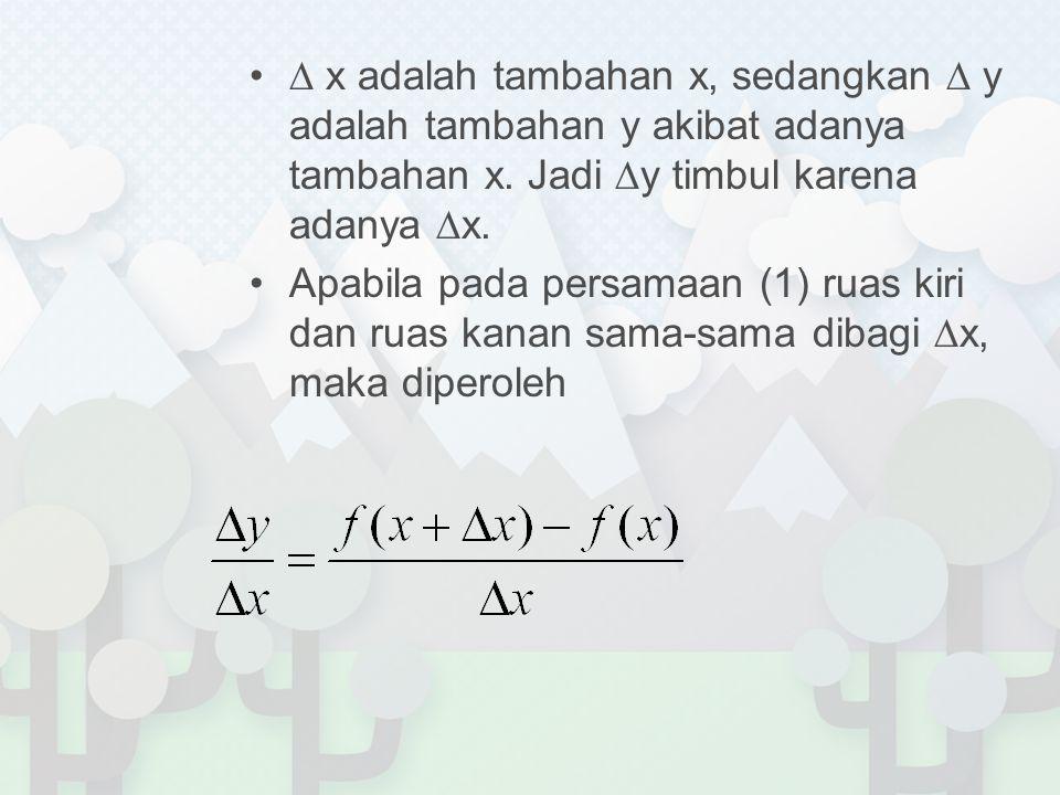 Bentuk ∆y/ ∆x inilah yang disebut sebagai hasil bagi perbedaan atau kuosien diferensi (difference quotient), yang mencerminkan tingkat perubahan rata-rata variabel terikat y terhadap perubahan variabel bebas x Proses penurunan fungsi disebut juga proses diferensiasi  merupakan penentuan limit suatu kuosien diferensi (∆x sangat kecil) Hasil proses diferensiasi dinamakan turunan atau derivatif (derivative).