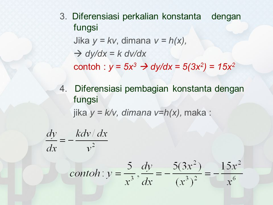 17. Diferensasi fungsi komposit - eksponensial Jika y = a u dimana u = g(x), maka :