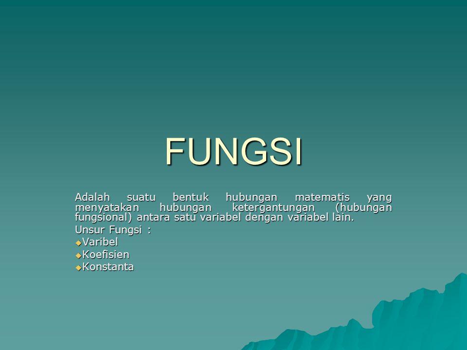 FUNGSI Adalah suatu bentuk hubungan matematis yang menyatakan hubungan ketergantungan (hubungan fungsional) antara satu variabel dengan variabel lain.