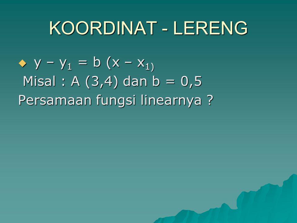 KOORDINAT - LERENG  y – y 1 = b (x – x 1) Misal : A (3,4) dan b = 0,5 Misal : A (3,4) dan b = 0,5 Persamaan fungsi linearnya ?