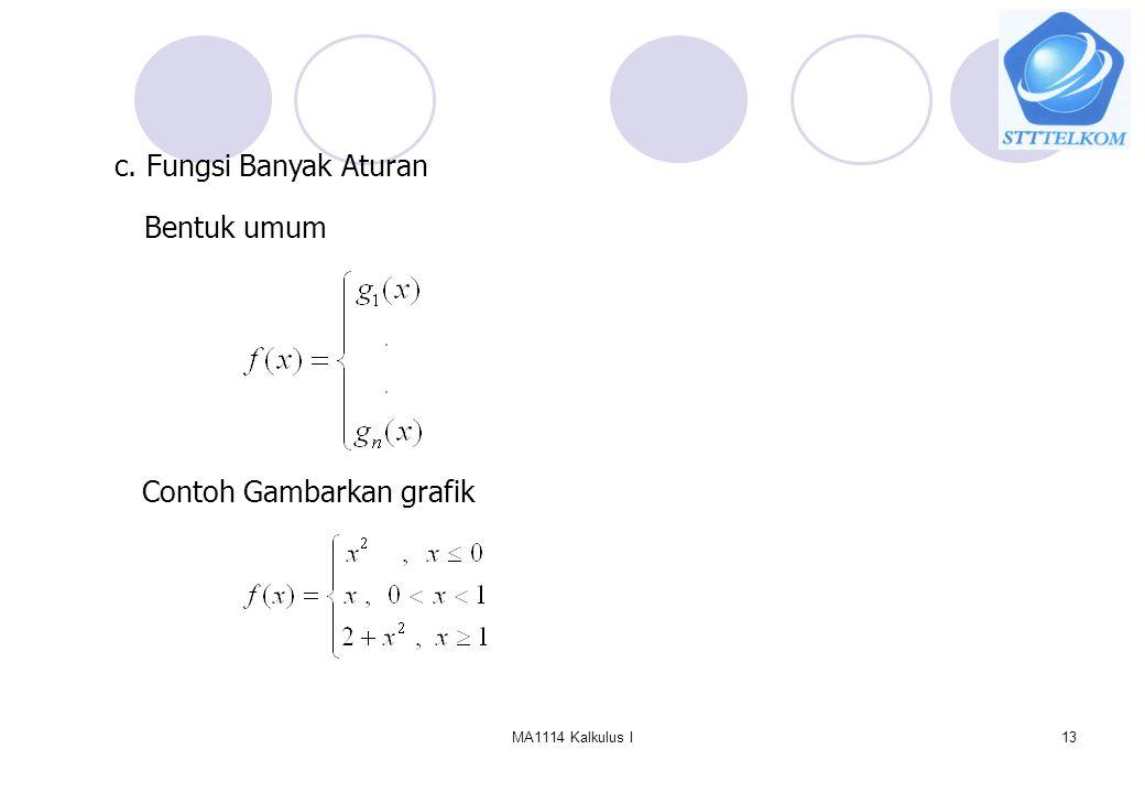 MA1114 Kalkulus I13 c. Fungsi Banyak Aturan Bentuk umum Contoh Gambarkan grafik