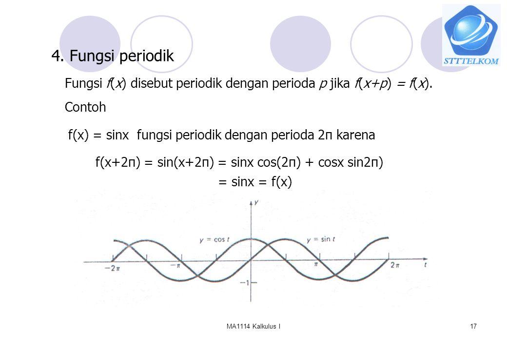 MA1114 Kalkulus I17 4. Fungsi periodik Fungsi f(x) disebut periodik dengan perioda p jika f(x+p) = f(x). Contoh f(x) = sinx fungsi periodik dengan per