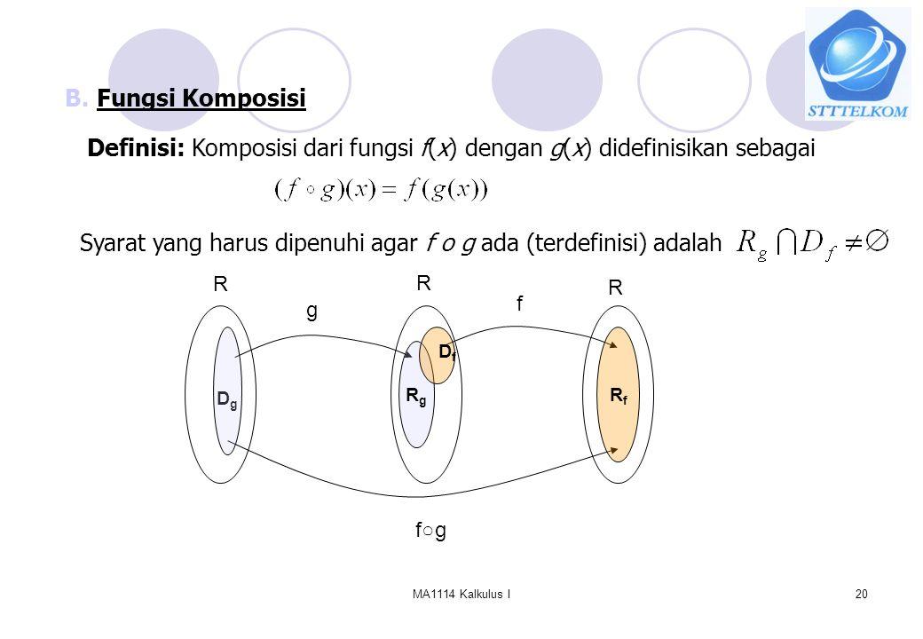 MA1114 Kalkulus I20 B.Fungsi Komposisi Definisi: Komposisi dari fungsi f(x) dengan g(x) didefinisikan sebagai Syarat yang harus dipenuhi agar f o g ad