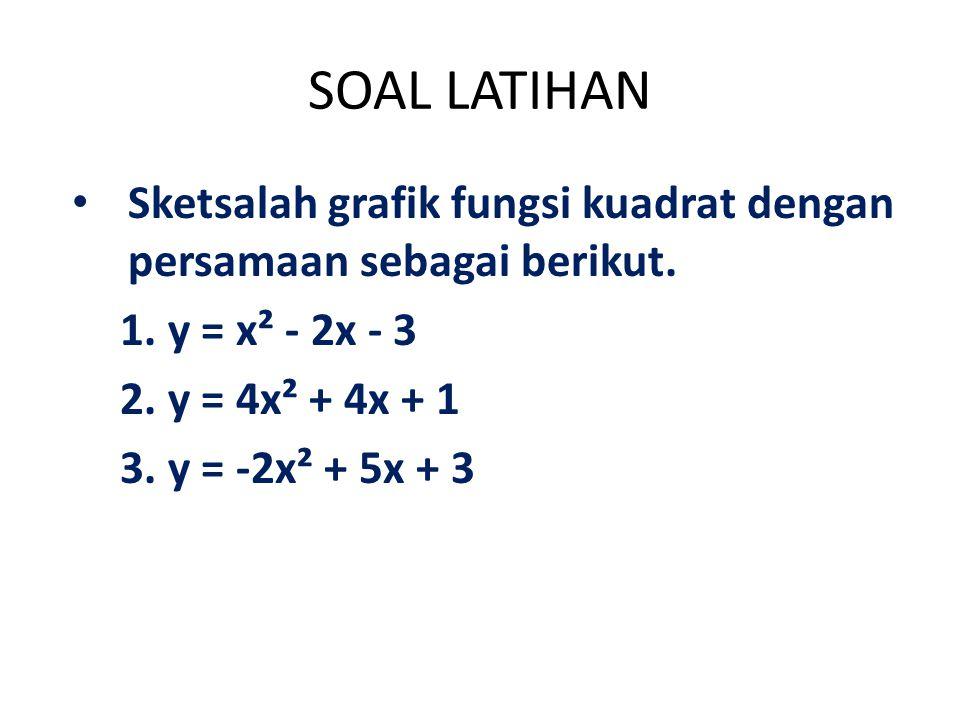 SOAL LATIHAN Sketsalah grafik fungsi kuadrat dengan persamaan sebagai berikut. 1.y = x² - 2x - 3 2.y = 4x² + 4x + 1 3.y = -2x² + 5x + 3