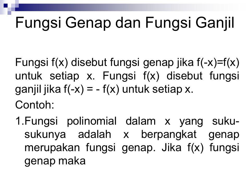 Fungsi Genap dan Fungsi Ganjil Fungsi f(x) disebut fungsi genap jika f(-x)=f(x) untuk setiap x. Fungsi f(x) disebut fungsi ganjil jika f(-x) = - f(x)