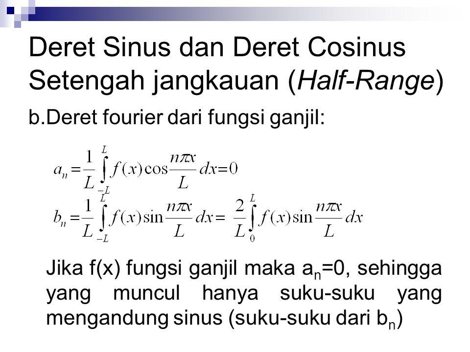 Deret Sinus dan Deret Cosinus Setengah jangkauan (Half-Range) b.Deret fourier dari fungsi ganjil: Jika f(x) fungsi ganjil maka a n =0, sehingga yang m