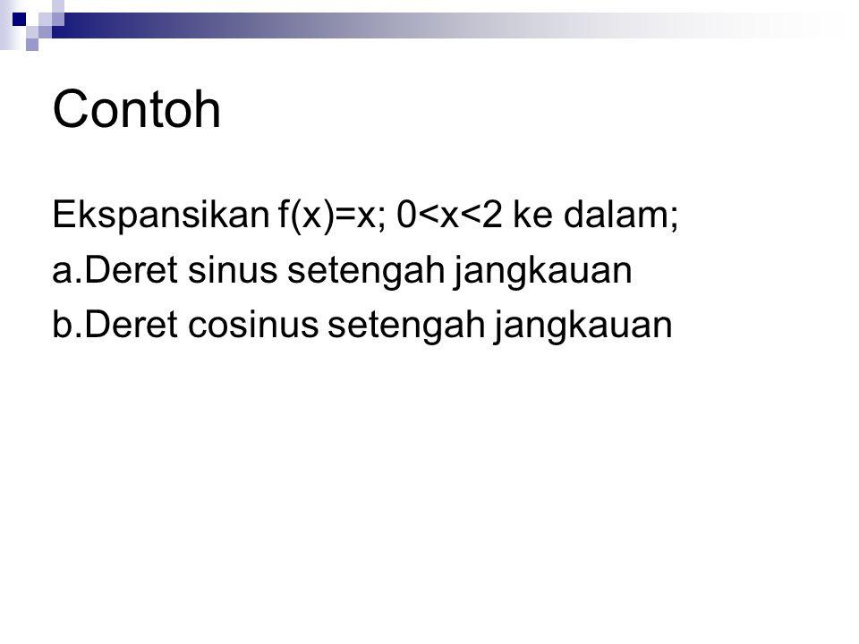 Contoh Ekspansikan f(x)=x; 0<x<2 ke dalam; a.Deret sinus setengah jangkauan b.Deret cosinus setengah jangkauan