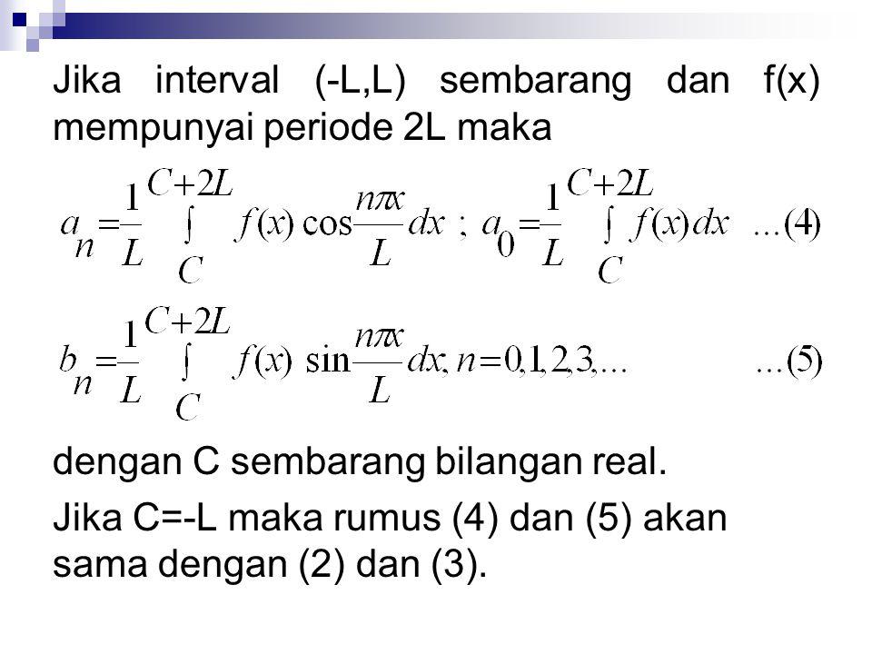 Jika interval (-L,L) sembarang dan f(x) mempunyai periode 2L maka dengan C sembarang bilangan real. Jika C=-L maka rumus (4) dan (5) akan sama dengan