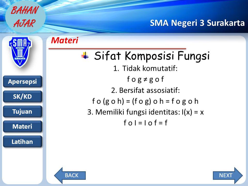 Apersepsi SK/KD Tujuan Materi Latihan SMA Negeri 3 Surakarta BAHAN AJAR Materi Sifat Komposisi Fungsi 1.Tidak komutatif: f o g ≠ g o f 2.