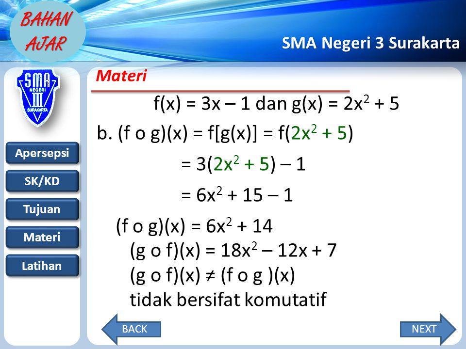 Apersepsi SK/KD Tujuan Materi Latihan SMA Negeri 3 Surakarta BAHAN AJAR Materi f(x) = 3x – 1 dan g(x) = 2x 2 + 5 b.