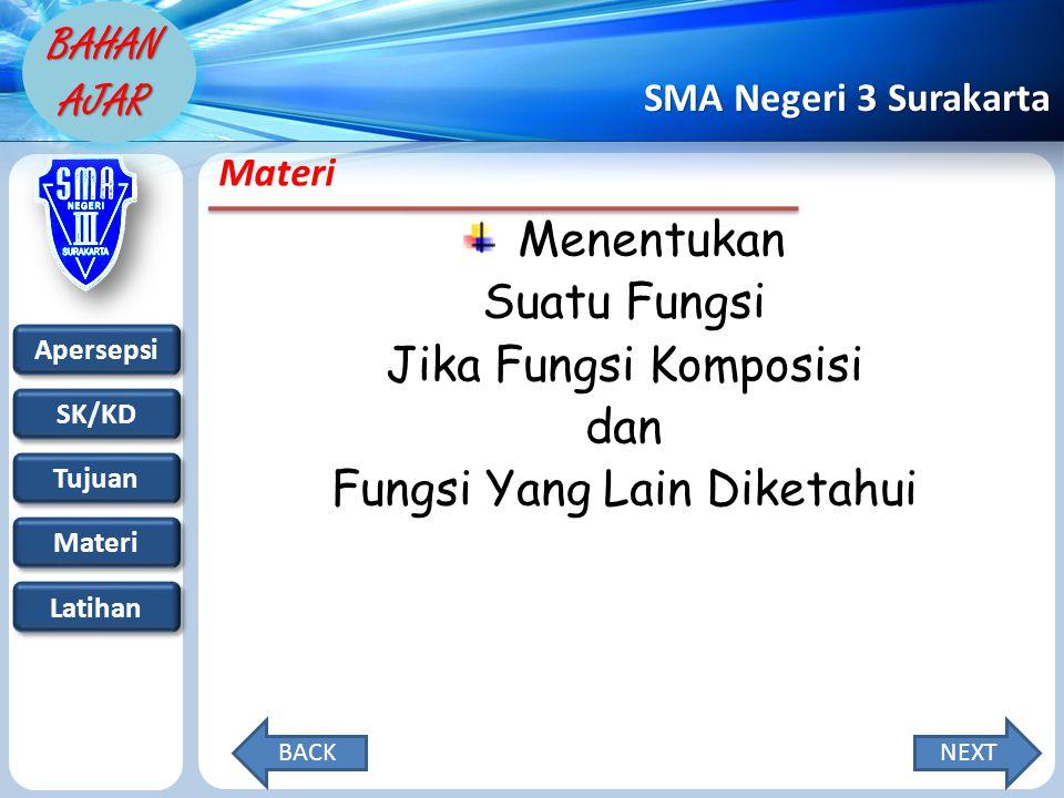 Apersepsi SK/KD Tujuan Materi Latihan SMA Negeri 3 Surakarta BAHAN AJAR Materi Menentukan Suatu Fungsi Jika Fungsi Komposisi dan Fungsi Yang Lain Diketahui NEXTBACK