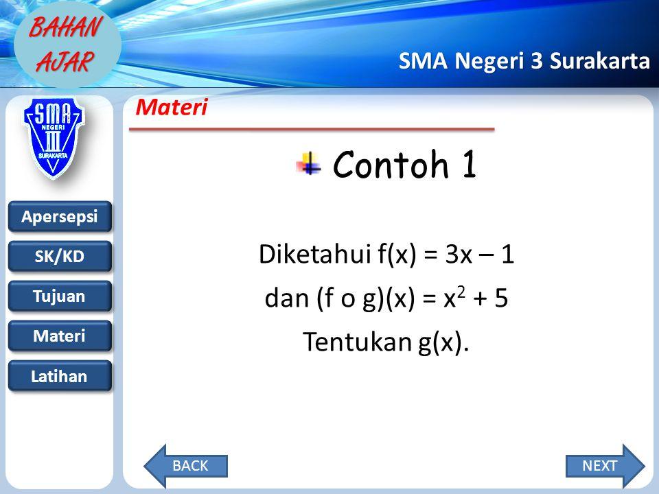 Apersepsi SK/KD Tujuan Materi Latihan SMA Negeri 3 Surakarta BAHAN AJAR Materi Contoh 1 Diketahui f(x) = 3x – 1 dan (f o g)(x) = x 2 + 5 Tentukan g(x).