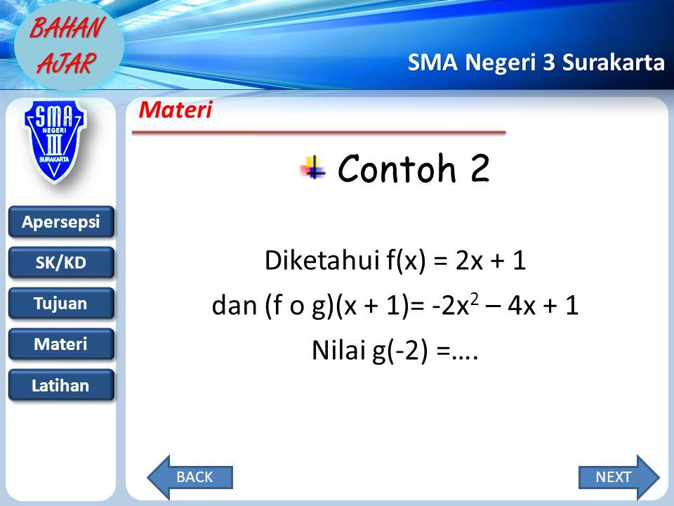 Apersepsi SK/KD Tujuan Materi Latihan SMA Negeri 3 Surakarta BAHAN AJAR Materi Contoh 2 Diketahui f(x) = 2x + 1 dan (f o g)(x + 1)= -2x 2 – 4x + 1 Nilai g(-2) =….