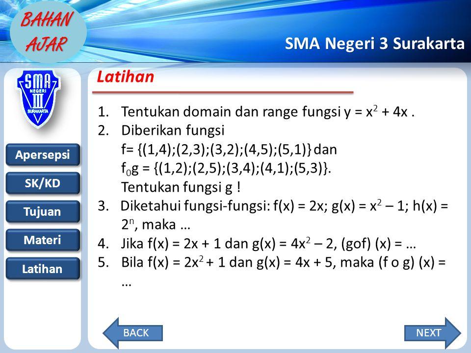 Apersepsi SK/KD Tujuan Materi Latihan SMA Negeri 3 Surakarta BAHAN AJAR Latihan 1.Tentukan domain dan range fungsi y = x 2 + 4x.