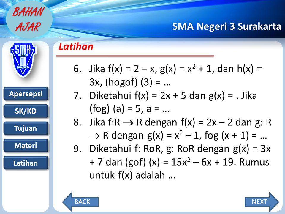 Apersepsi SK/KD Tujuan Materi Latihan SMA Negeri 3 Surakarta BAHAN AJAR Latihan 6.Jika f(x) = 2 – x, g(x) = x 2 + 1, dan h(x) = 3x, (hogof) (3) = … 7.
