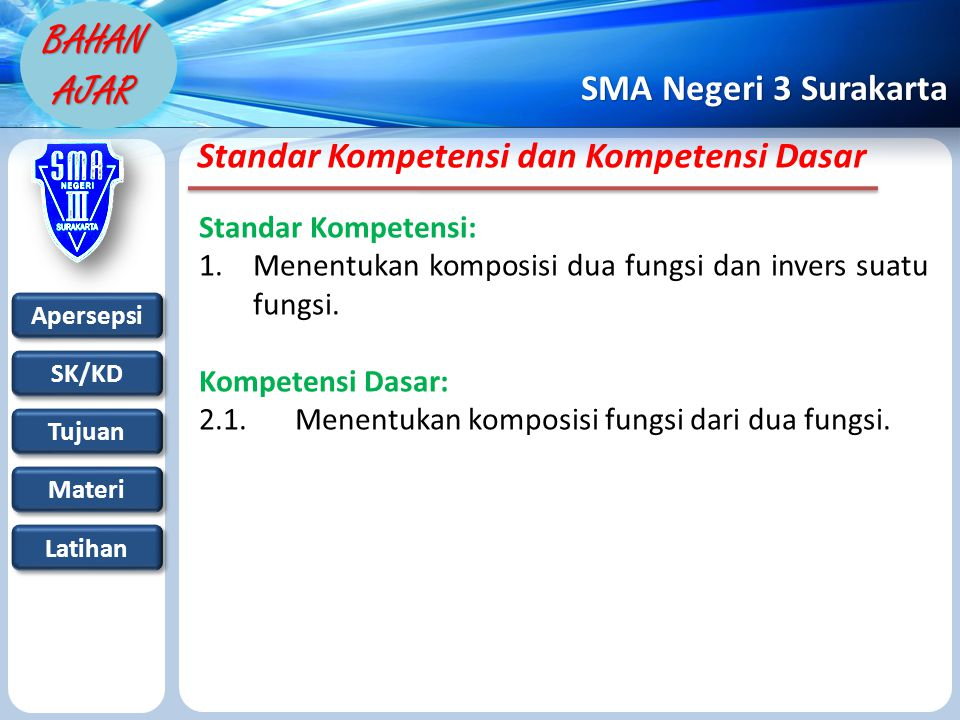 Apersepsi SK/KD Tujuan Materi Latihan SMA Negeri 3 Surakarta BAHAN AJAR Standar Kompetensi dan Kompetensi Dasar Standar Kompetensi: 1.Menentukan komposisi dua fungsi dan invers suatu fungsi.