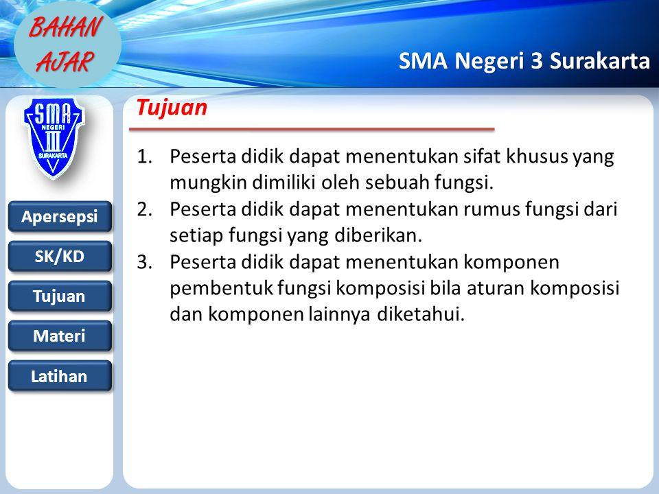 Apersepsi SK/KD Tujuan Materi Latihan SMA Negeri 3 Surakarta BAHAN AJAR Tujuan 1.Peserta didik dapat menentukan sifat khusus yang mungkin dimiliki oleh sebuah fungsi.