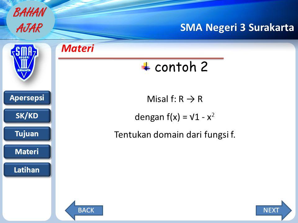 Apersepsi SK/KD Tujuan Materi Latihan SMA Negeri 3 Surakarta BAHAN AJAR Materi contoh 2 Misal f: R → R dengan f(x) = √1 - x 2 Tentukan domain dari fungsi f.