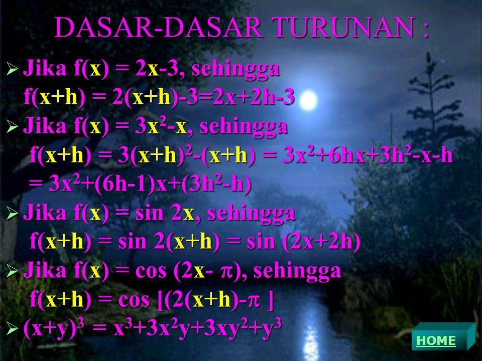DASAR-DASAR TURUNAN : JJJJika f(x) = 2x-3, sehingga f(x+h) = 2(x+h)-3=2x+2h-3 JJJJika f(x) = 3x2-x, sehingga f(x+h) = 3(x+h)2-(x+h) = 3x2+6hx+3h2-x-h = 3x2+(6h-1)x+(3h2-h) JJJJika f(x) = sin 2x, sehingga f(x+h) = sin 2(x+h) = sin (2x+2h) JJJJika f(x) = cos (2x-), sehingga f(x+h) = cos [(2(x+h)- ] ((((x+y)3 = x3+3x2y+3xy2+y3 HOME