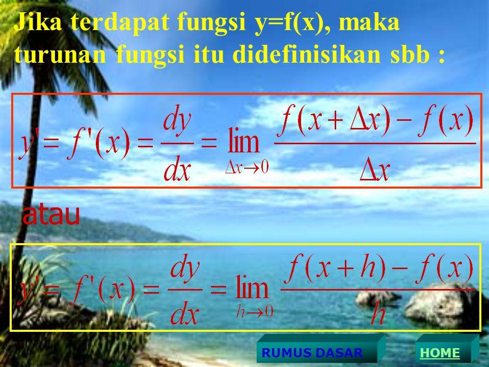 Jika terdapat fungsi y=f(x), maka turunan fungsi itu didefinisikan sbb : atau HOMERUMUS DASAR