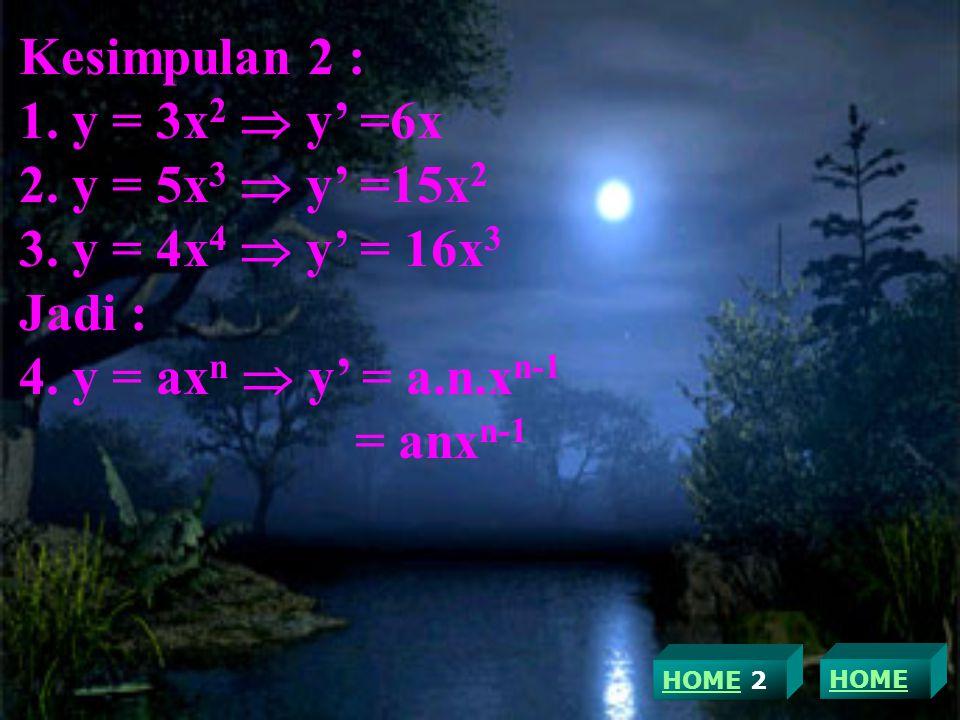 Kesimpulan 2 : 1.y = 3x 2  y' =6x 2. y = 5x 3  y' =15x 2 3.