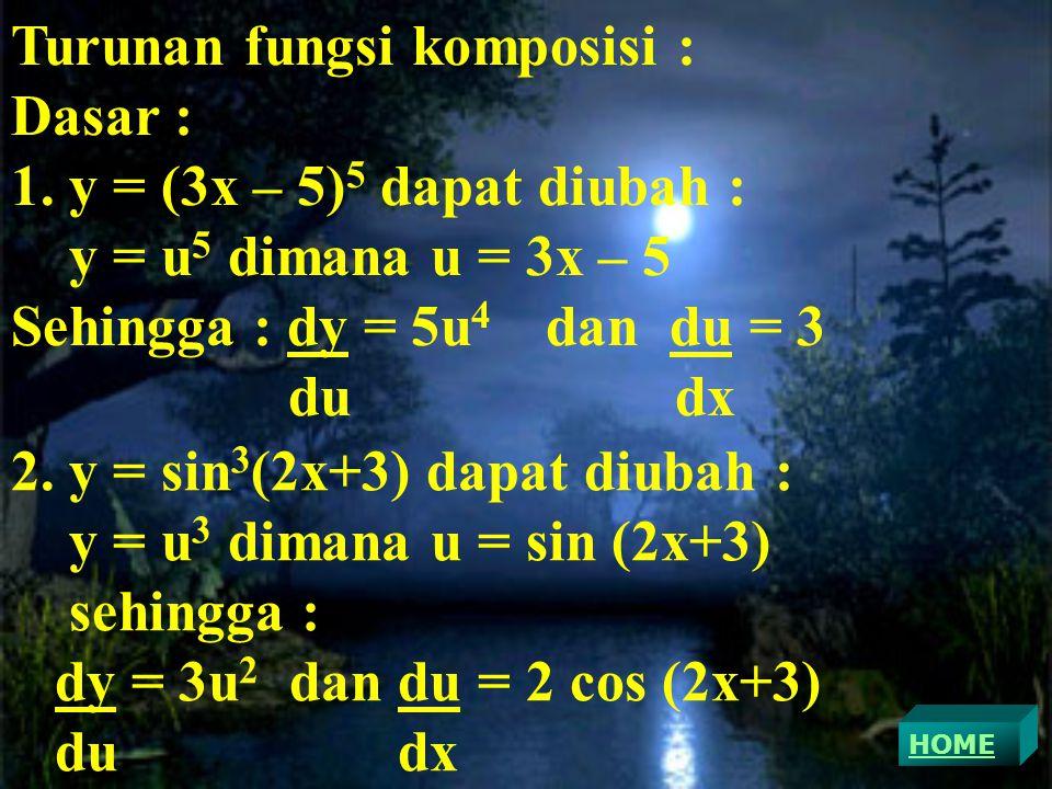 Turunan fungsi komposisi : Dasar : 1.