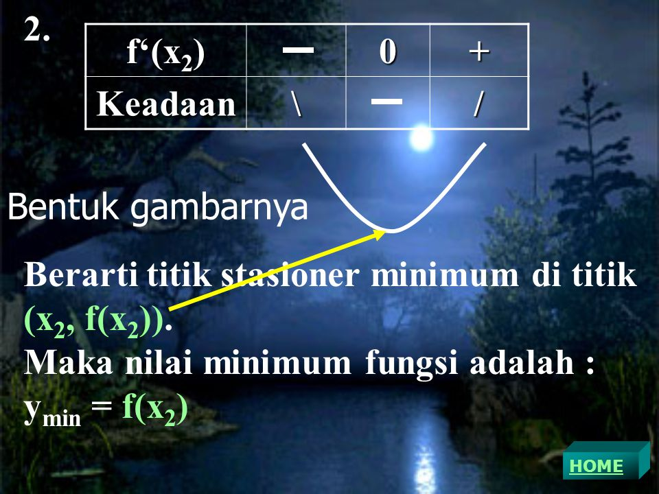2.f'(x 2 ) 0+Keadaan\/ Berarti titik stasioner minimum di titik (x 2, f(x 2 )).