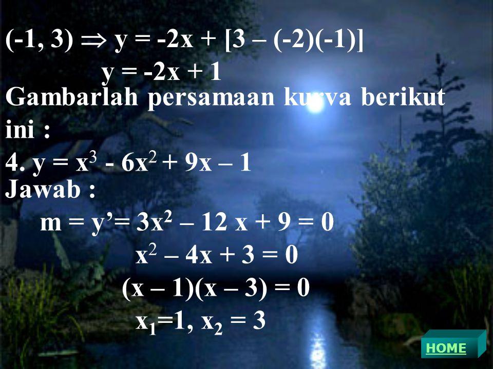 (-1, 3)  y = -2x + [3 – (-2)(-1)] y = -2x + 1 Gambarlah persamaan kurva berikut ini : 4.
