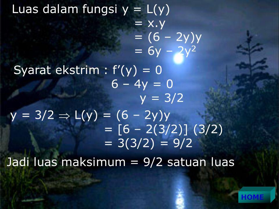 Luas dalam fungsi y = L(y) = x.y = (6 – 2y)y = 6y – 2y 2 Syarat ekstrim : f'(y) = 0 6 – 4y = 0 y = 3/2 y = 3/2  L(y) = (6 – 2y)y = [6 – 2(3/2)] (3/2) = 3(3/2) = 9/2 Jadi luas maksimum = 9/2 satuan luas