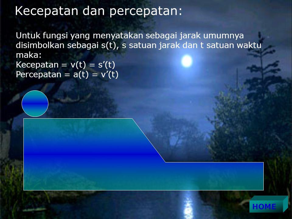 Kecepatan dan percepatan: Untuk fungsi yang menyatakan sebagai jarak umumnya disimbolkan sebagai s(t), s satuan jarak dan t satuan waktu maka: Kecepatan = v(t) = s'(t) Percepatan = a(t) = v'(t)