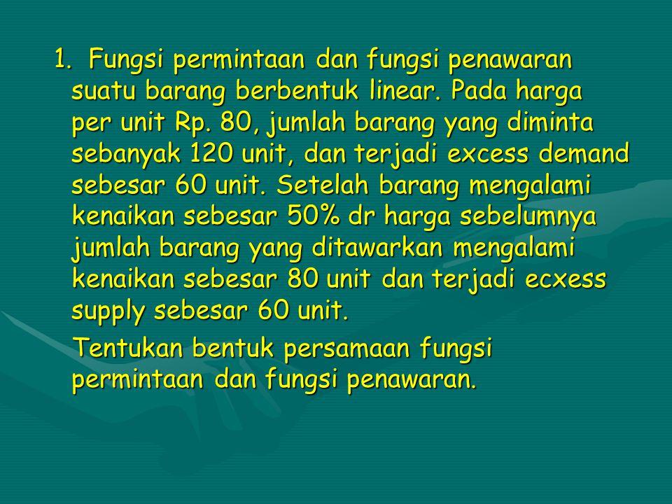 1.F F F Fungsi permintaan dan fungsi penawaran suatu barang berbentuk linear.