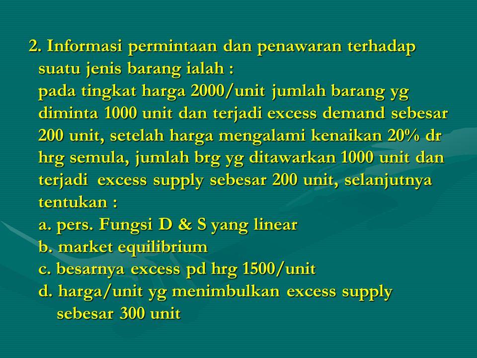1. F F F Fungsi permintaan dan fungsi penawaran suatu barang berbentuk linear. Pada harga per unit Rp. 80, jumlah barang yang diminta sebanyak 120 uni