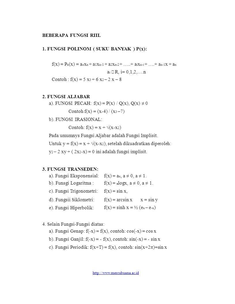 BEBERAPA FUNGSI RIIL 1. FUNGSI POLINOM ( SUKU BANYAK ) P(x): f(x) = P n (x) = a o x n + a 1 x n-1 + a 2 x n-2 + …..+ a i x n-i + ….+ a n-1 x + a n a i