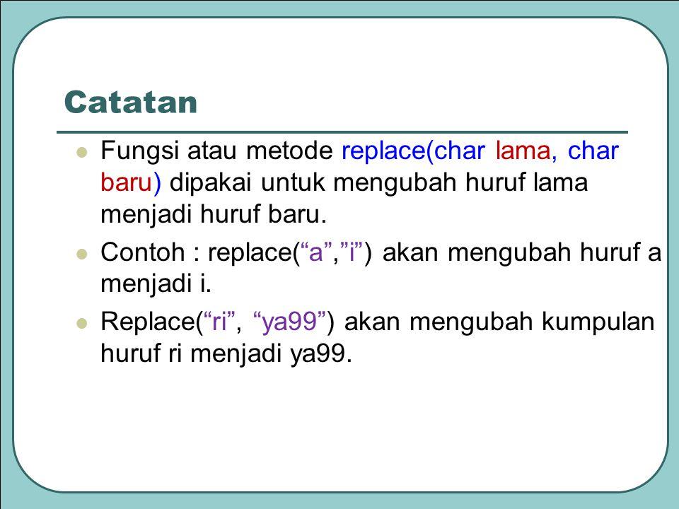 """Catatan Fungsi atau metode replace(char lama, char baru) dipakai untuk mengubah huruf lama menjadi huruf baru. Contoh : replace(""""a"""",""""i"""") akan mengubah"""