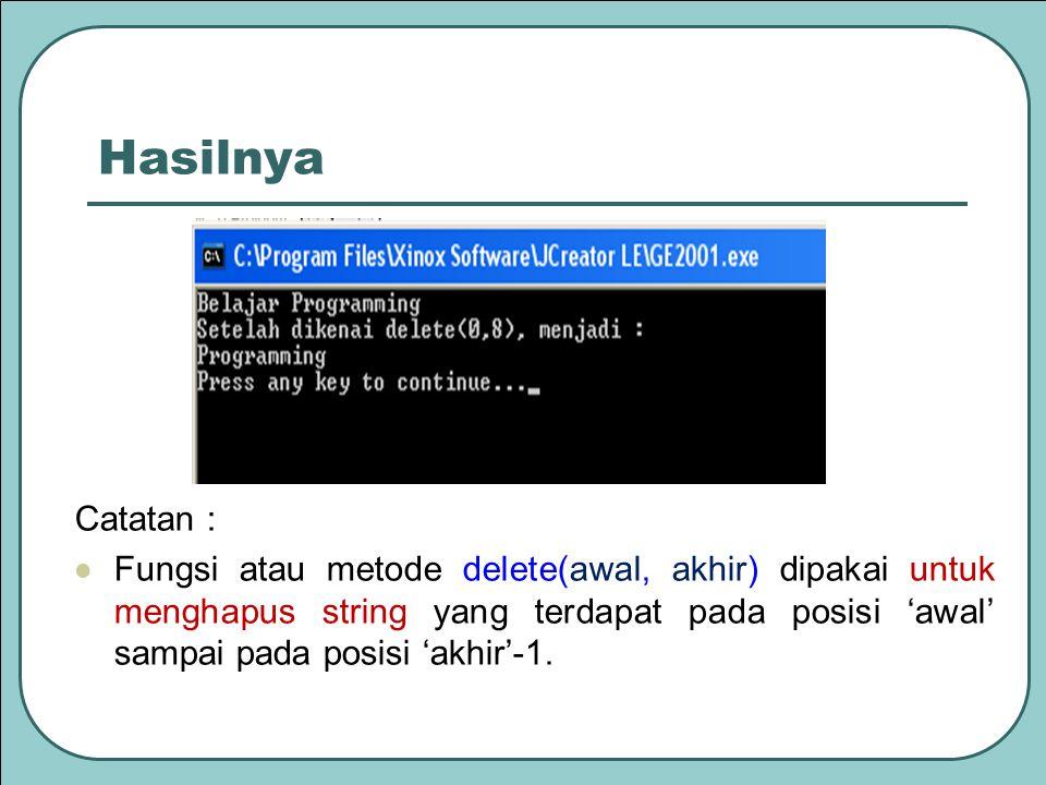 Hasilnya Catatan : Fungsi atau metode delete(awal, akhir) dipakai untuk menghapus string yang terdapat pada posisi 'awal' sampai pada posisi 'akhir'-1