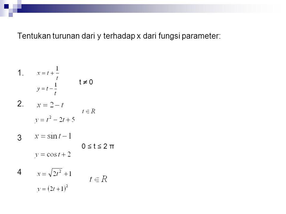 Tentukan turunan dari y terhadap x dari fungsi parameter: 1. 2. 3 4 t  0 0 ≤ t ≤ 2 π