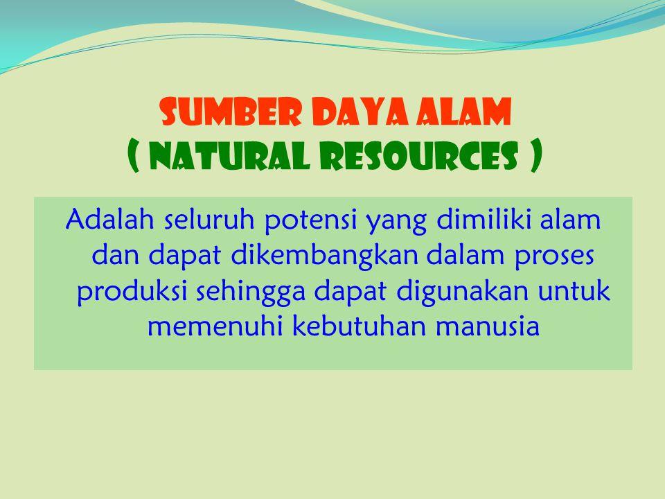 SUMBER DAYA ALAM ( Natural Resources ) Adalah seluruh potensi yang dimiliki alam dan dapat dikembangkan dalam proses produksi sehingga dapat digunakan