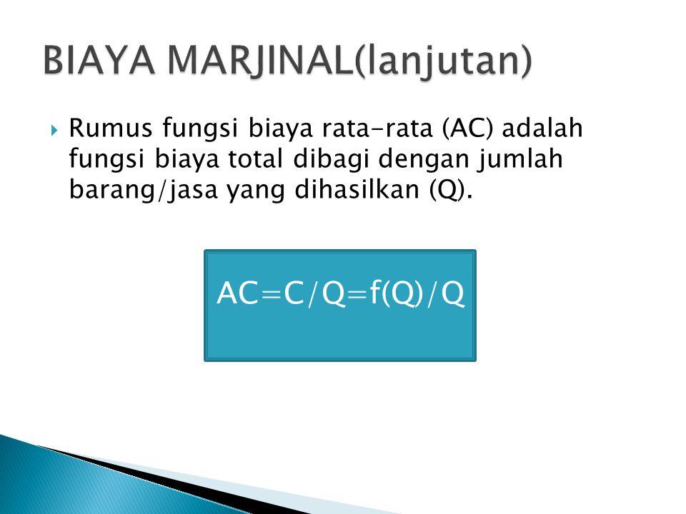  Rumus fungsi biaya rata-rata (AC) adalah fungsi biaya total dibagi dengan jumlah barang/jasa yang dihasilkan (Q). AC=C/Q=f(Q)/Q