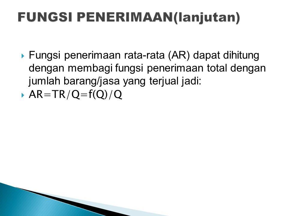  Fungsi penerimaan rata-rata (AR) dapat dihitung dengan membagi fungsi penerimaan total dengan jumlah barang/jasa yang terjual jadi:  AR=TR/Q=f(Q)/Q