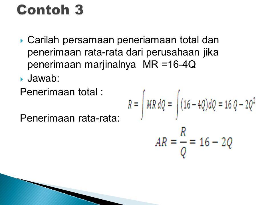 Carilah persamaan peneriamaan total dan penerimaan rata-rata dari perusahaan jika penerimaan marjinalnya MR =16-4Q  Jawab: Penerimaan total : Pener