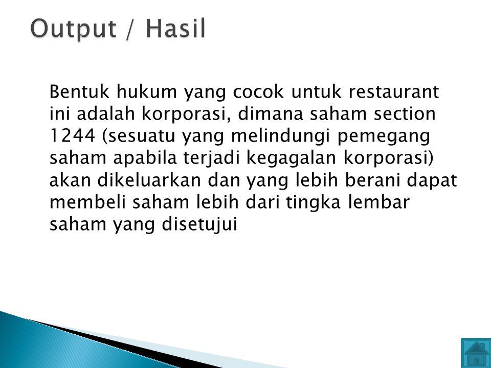 Bentuk hukum yang cocok untuk restaurant ini adalah korporasi, dimana saham section 1244 (sesuatu yang melindungi pemegang saham apabila terjadi kegagalan korporasi) akan dikeluarkan dan yang lebih berani dapat membeli saham lebih dari tingka lembar saham yang disetujui