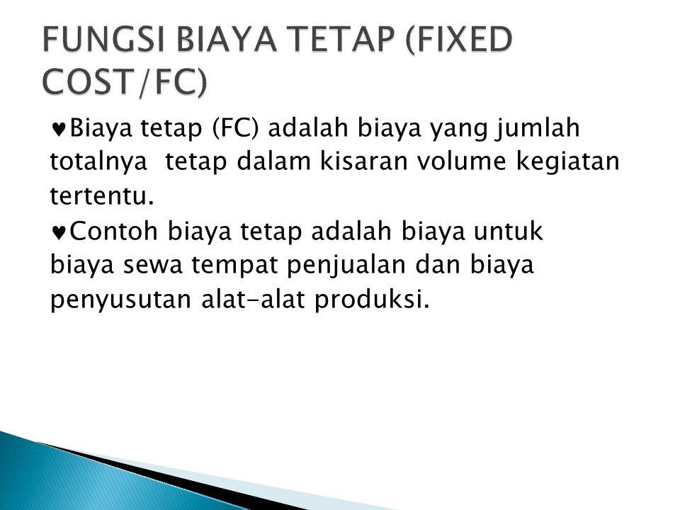 Biaya tetap (FC) adalah biaya yang jumlah totalnya tetap dalam kisaran volume kegiatan tertentu.