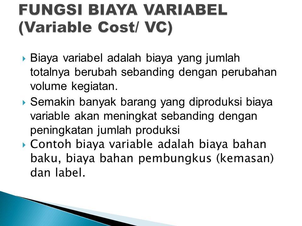  Biaya variabel adalah biaya yang jumlah totalnya berubah sebanding dengan perubahan volume kegiatan.